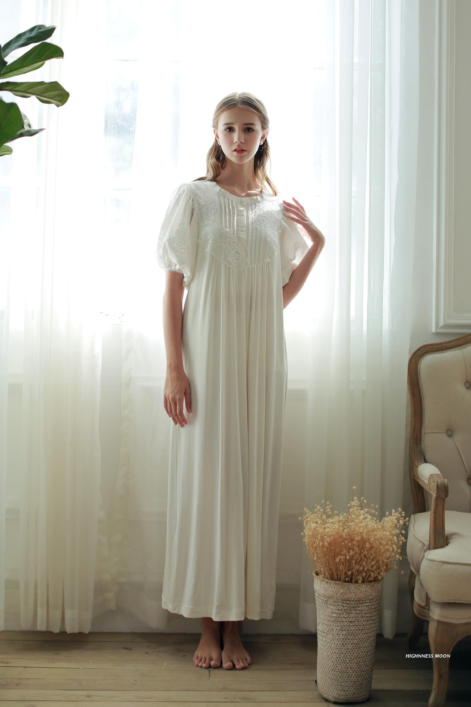 4d5c7dd279 Hohe Qualität Königliche Prinzessin Hauchhülse Spitze Nachthemden frauen  Weiche Modale Baumwolle Langen Nachthemd Nachtwäsche Lose Pyjamas Roben in  Hohe ...