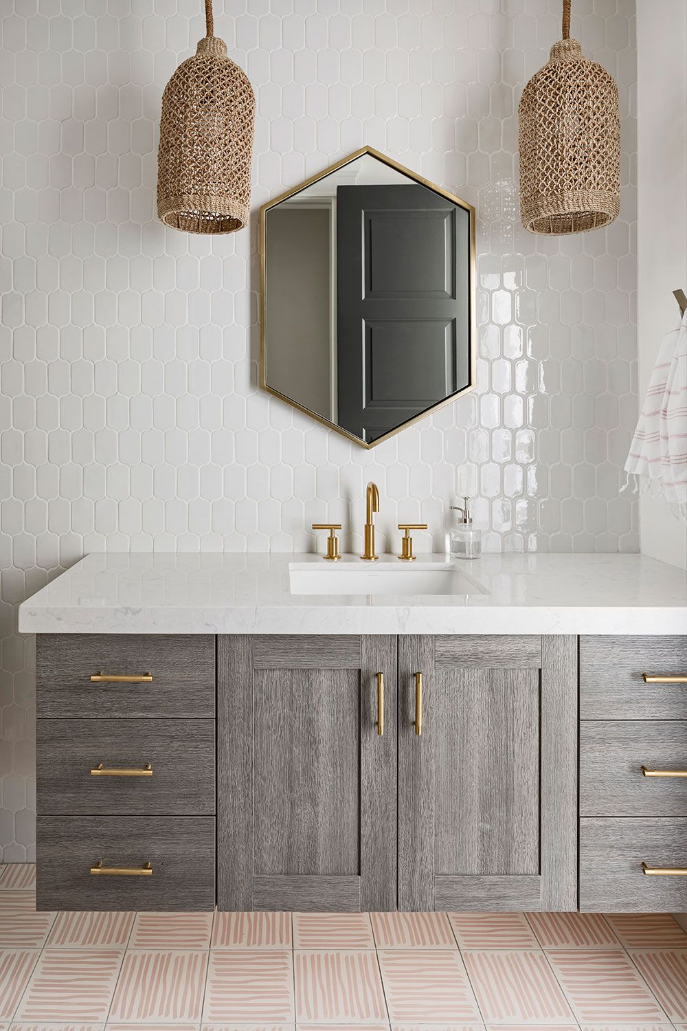 Geometric Shapes Patterns Textures And Gold Accents Shown In Our Heigh End Full Access Gorgeous Bathroom Designs Amazing Bathrooms Best Bathroom Vanities [ 1500 x 1000 Pixel ]