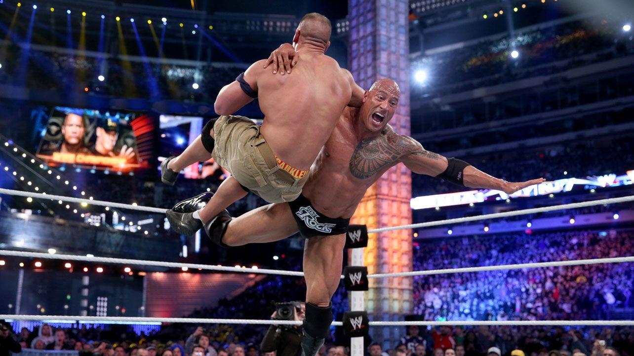 wwe wrestlemania 29 john cena vs the rock sets a