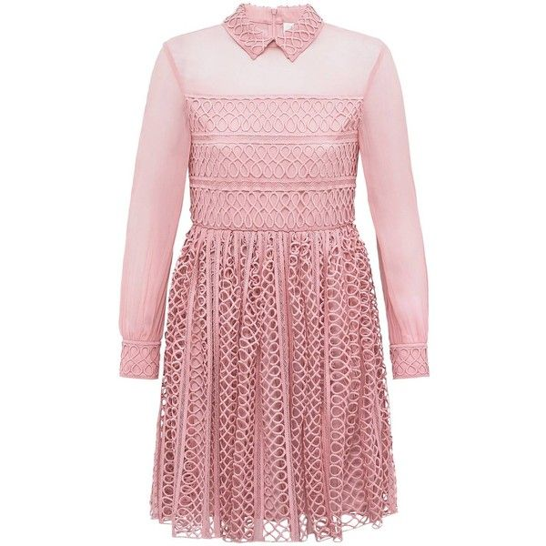 Bora Aksu - Dusky Pink Lace & Georgette Shirt Dress (£835) ❤ liked on Polyvore featuring dresses, red shirt dress, long shirt dress, lace dress, georgette dress and lacy red dress