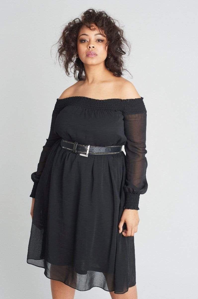 Bardot Dress With Belt Perfect Little Black Dress Bardot Dress Dresses [ 1200 x 796 Pixel ]