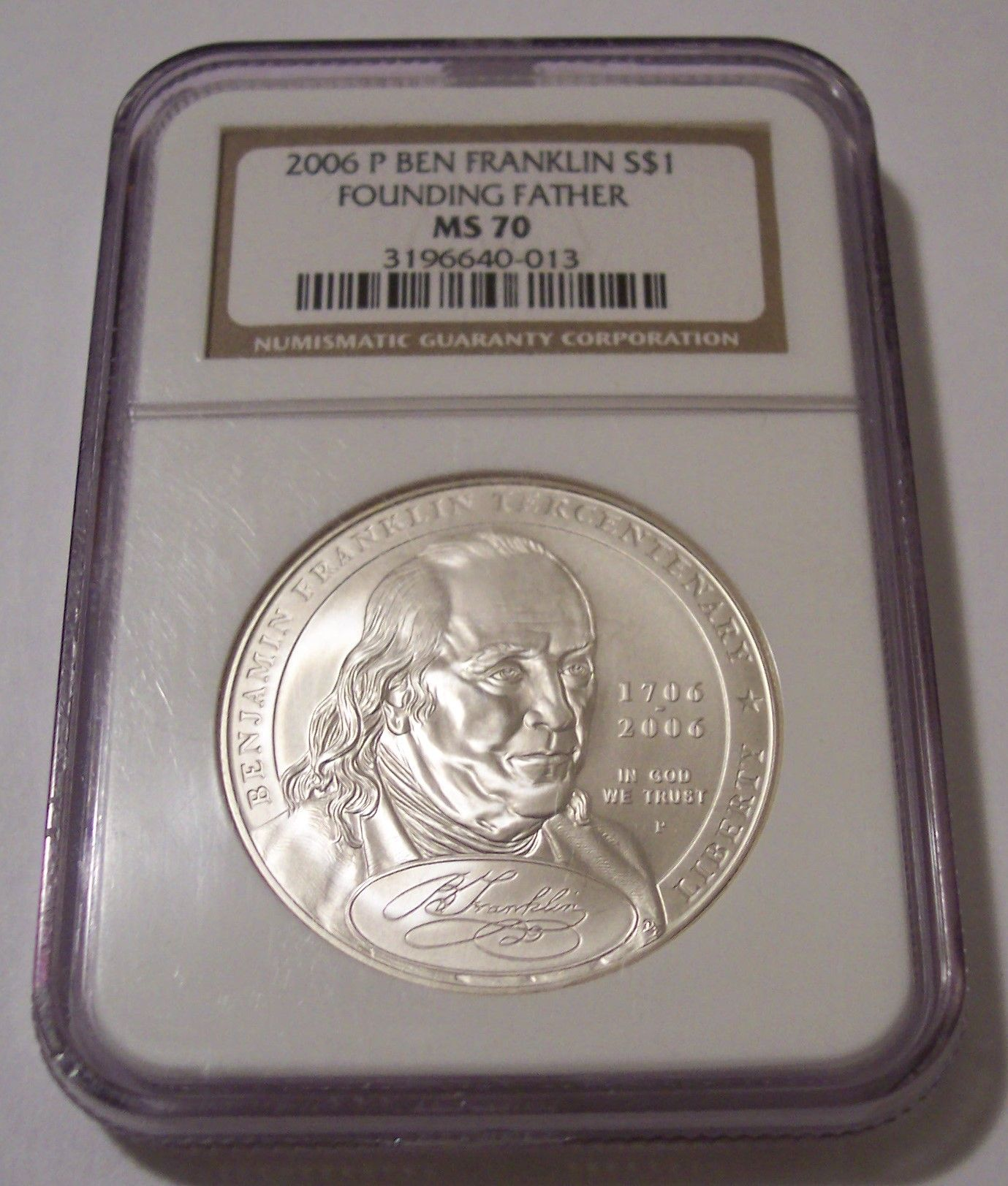 2006 BEN FRANKLIN FOUNDING FATHER COMMEMORATIVE DOLLAR NGC MS-70 CERTIFIED 70
