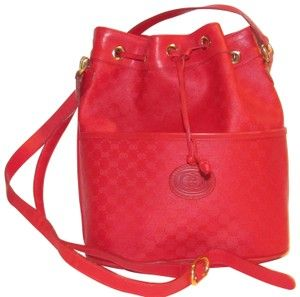 e5bb741c262ddf Gucci Drawstring Top Bucket Style Mint Vintage Rare Color Satchel in red  small G logo print coated canvas and red leather