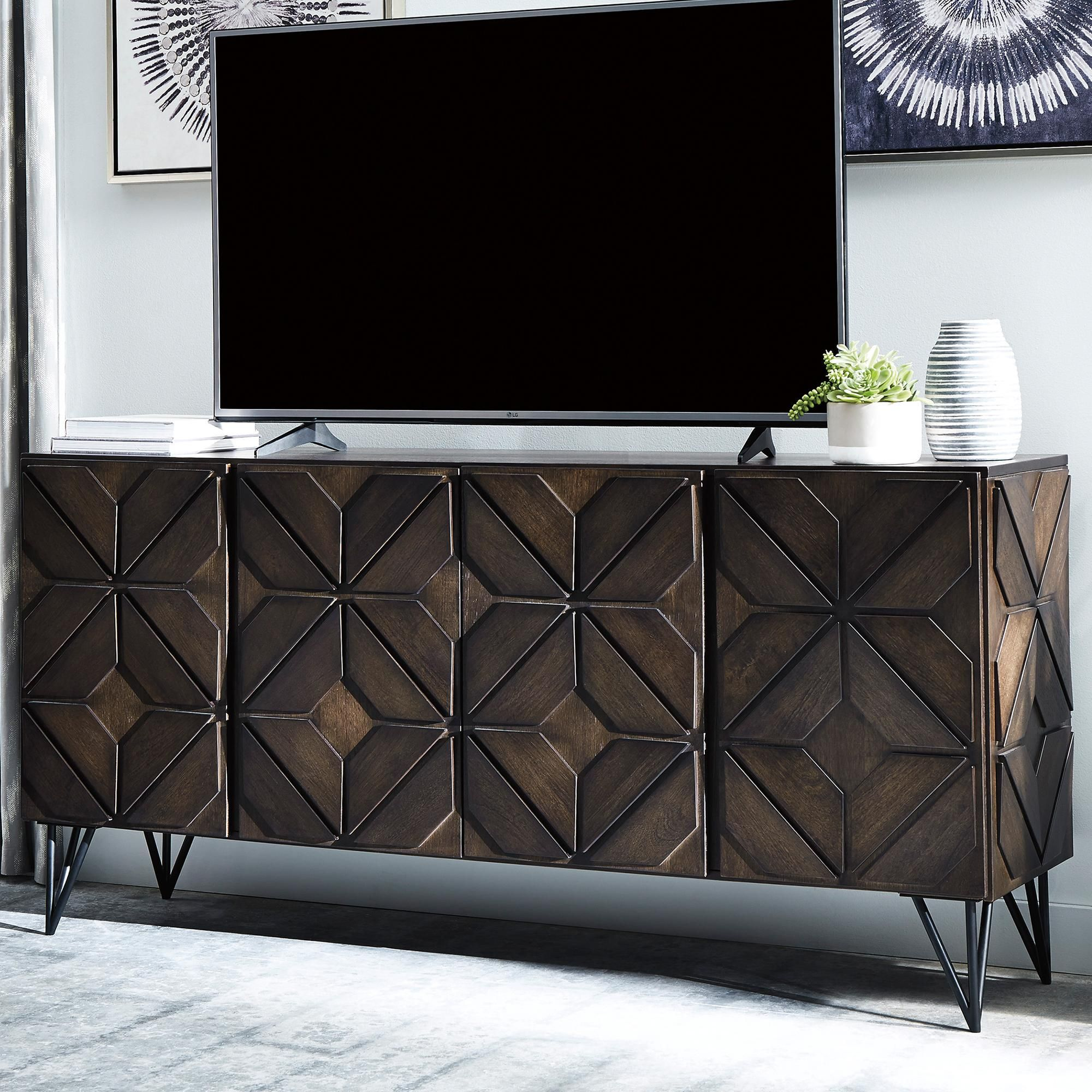 Signature Design By Ashley Chasinfield 72 Large Tv Stand In Dark Espresso Brown Nfm Large Tv Stands Tv Stand Dark Brown Living Room Tv Stand