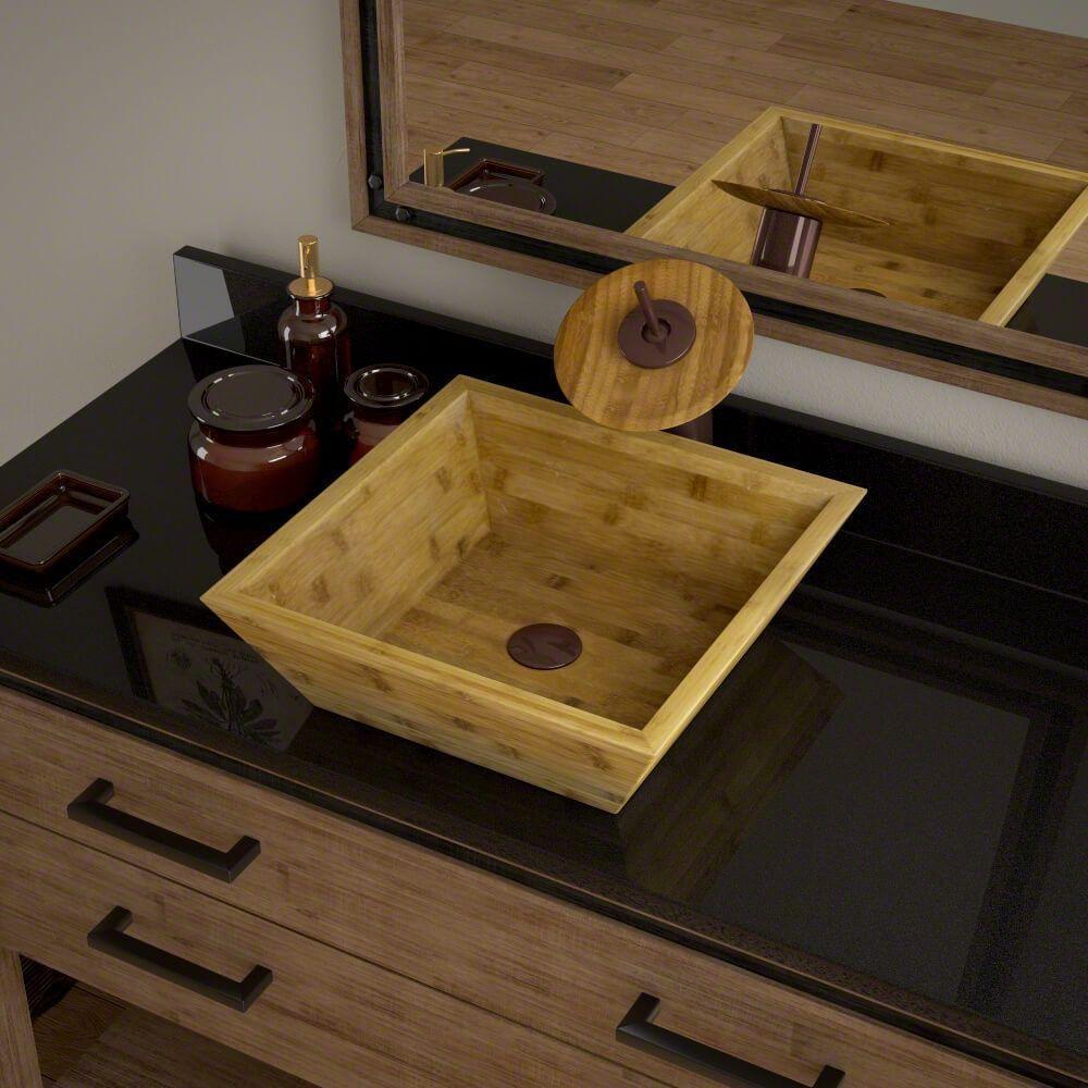 MR Direct 891 Bamboo (Green) Vessel Bathroom Sink, Oil Rubbed Bronze ...