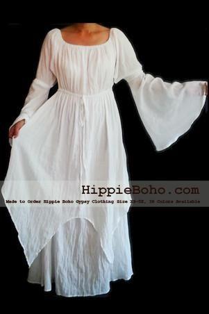 f07efa65912 No.301 - Size XS-5X Hippie Boho Bohemian Gypsy White Long Sleeve Plus Size  Sundress Pixie Full Skirt
