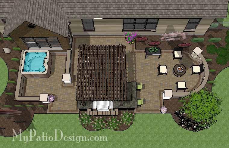 895 sq. ft. Dreamy Backyard Patio Design with Hot Tub #backyardpatiodesigns