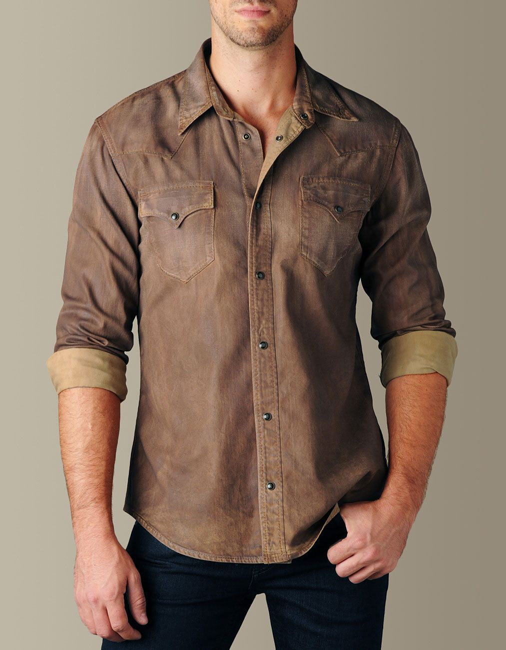 mens badlands coated jake western shirt shirts true
