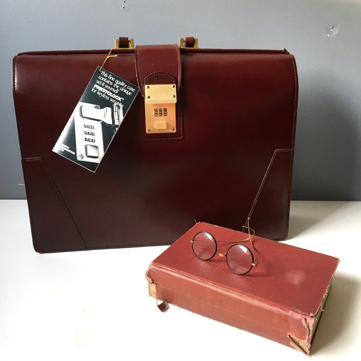 Lion Leather Products cowhide lawyers briefcase vintage