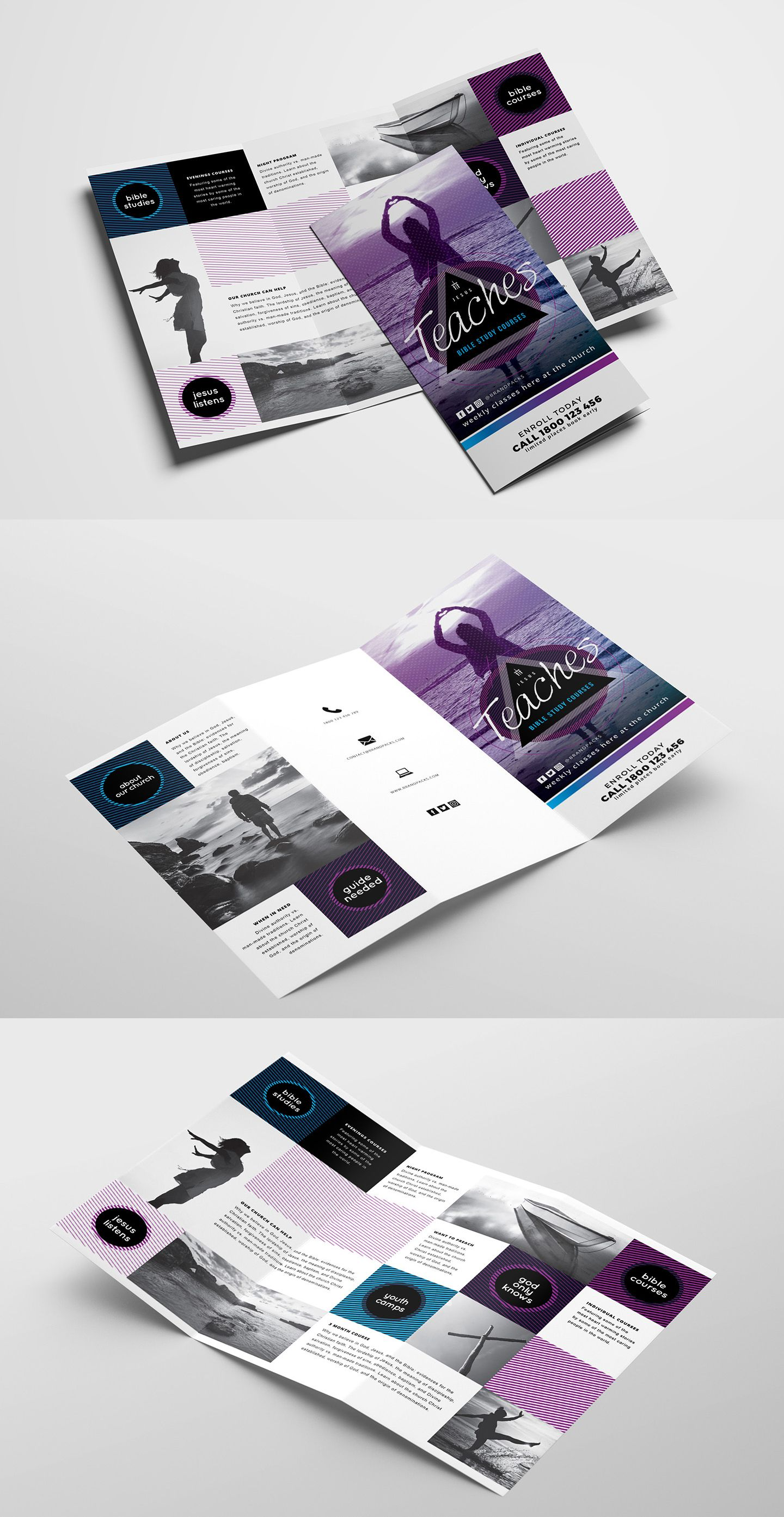 Free Church TriFold Brochure Template For Photoshop Illustrator - Photoshop tri fold brochure template free