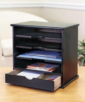 4 Slot Wood Home Office Mail Organizers Countertop Wooden Bill