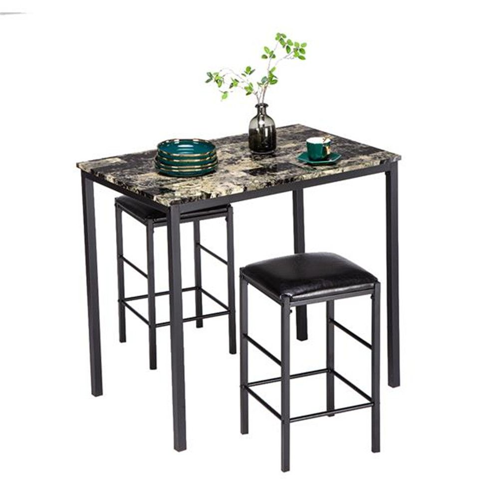 Us 114 05 90 X 60 X 82 Cm Marble Face High Dining Table And Chair Cushion Black Set 1 Table 2 Chairs Dining Table Kitchen Furniture Dining Room Sets Al High