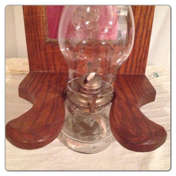 Vintage Wood Hurricane Oil Lamp Holder, Vintage Wood Oil Lamp Holder