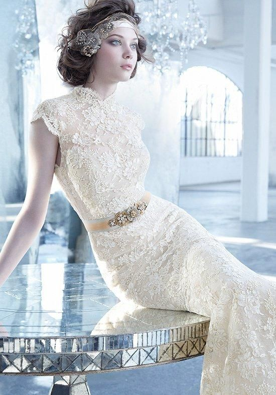 Get Inspired A Dramatic Champagne Lace Wedding Gown From Lazaro Bridal Is The Perfect Outfit For Stunningly Glamorous Vintage Style Winter