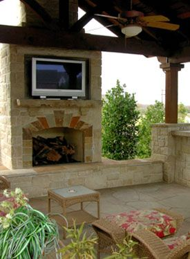 Dallas outdoor living structures plano landscape lighting - Outdoor fireplace with tv ...