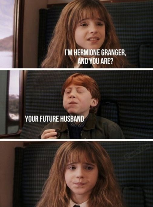 Image result for ron and hermione meme