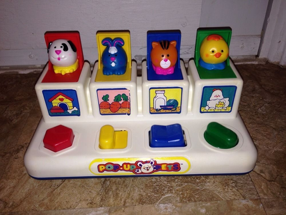 Vintage 1991 Shelcore PopUp Pets Baby Toy Cause/Effect
