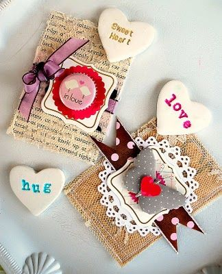 {heart magnets} primo clay, cookie cutters and stamps