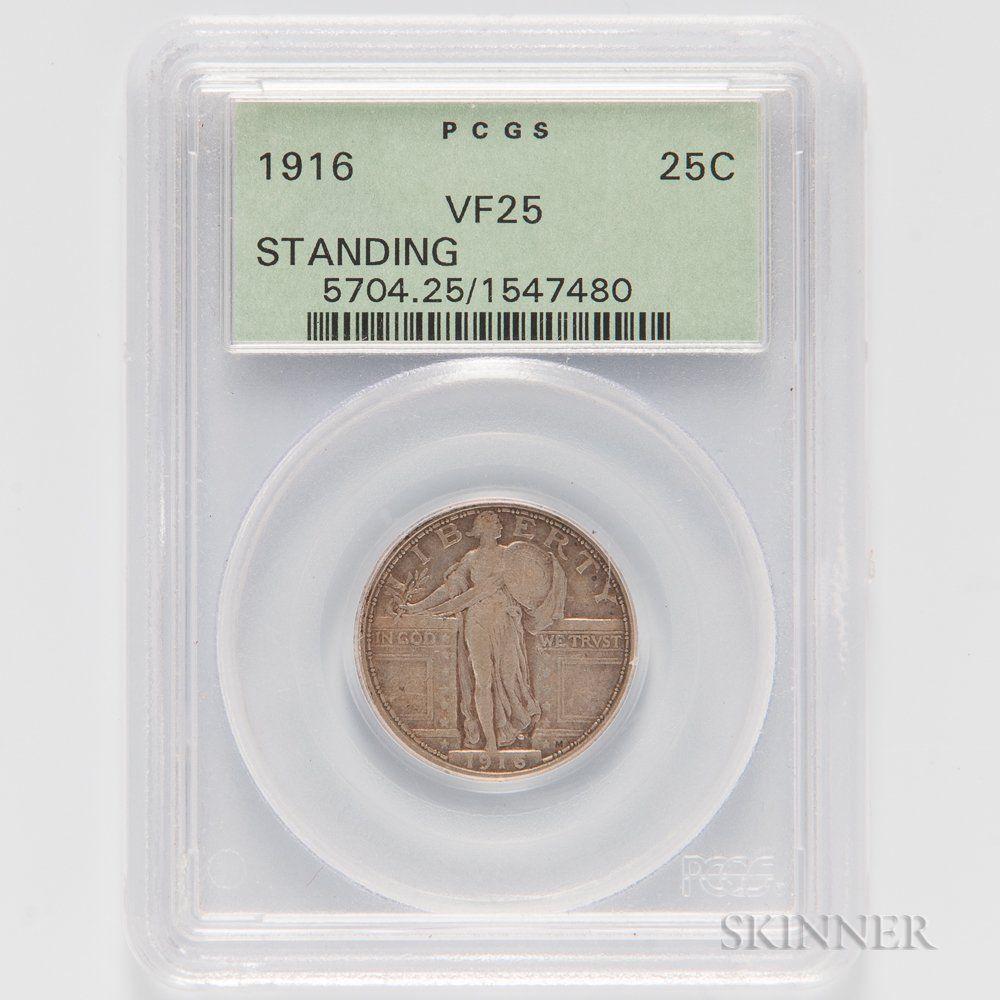 1916 standing liberty quarter lot 1138 auction 3026t