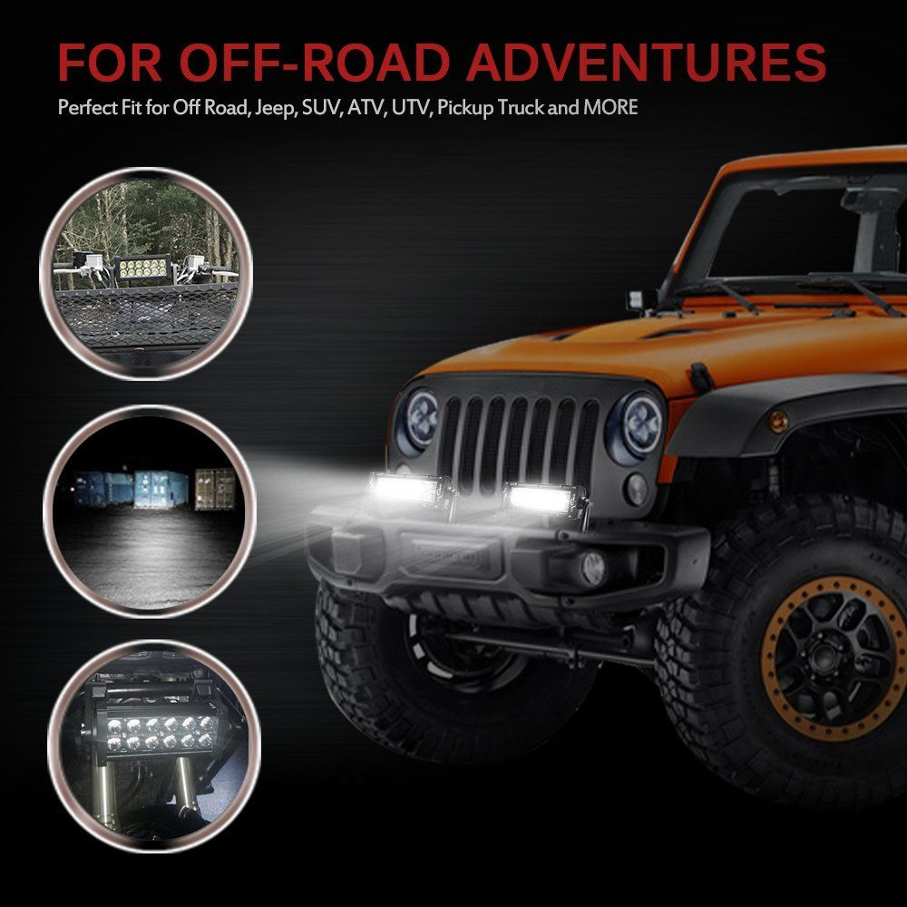 Amazon Com Mictuning 7 5 Inch 36w Combo Spot Flood Beam Led Lights Bar 2500 Lumen For 4 4 Off Road Polaris Razor A Led Light Bars Flood Lights Offroad Jeep