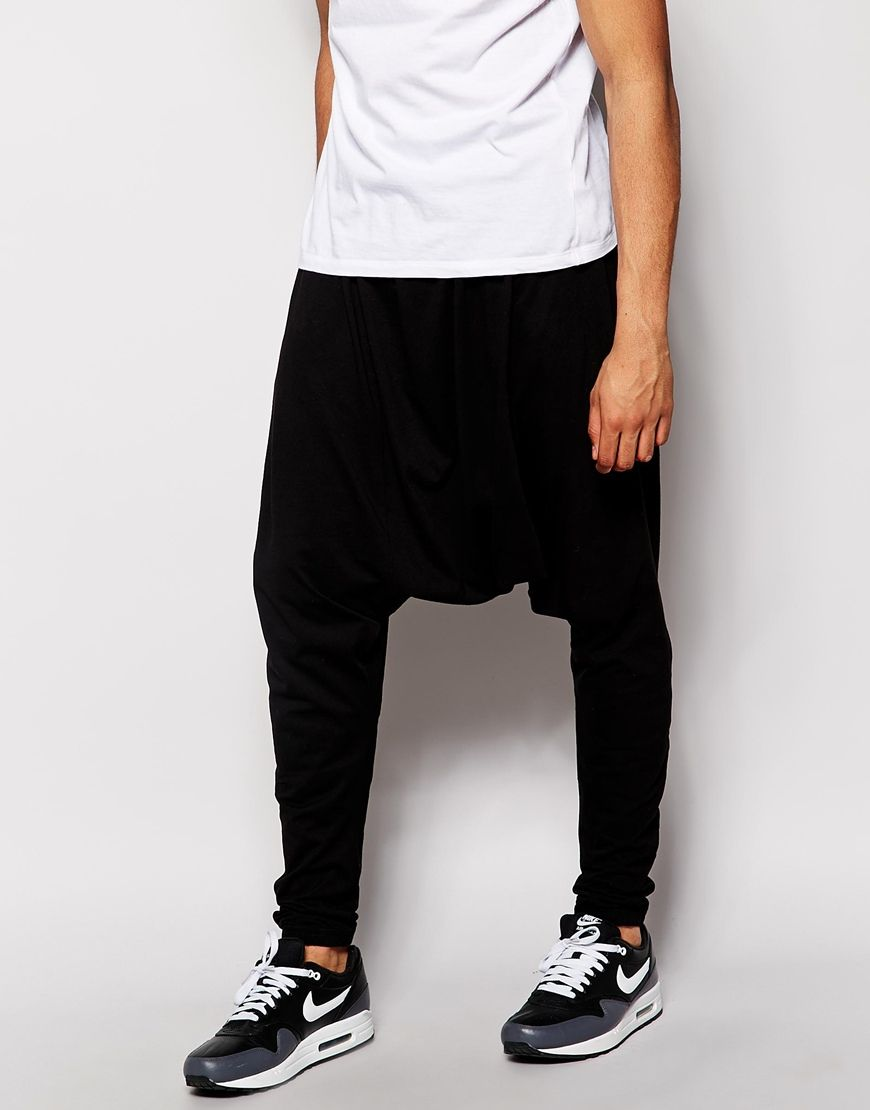 Image 1 of ASOS Extreme Drop Crotch Joggers In Super Lightweight Fabric