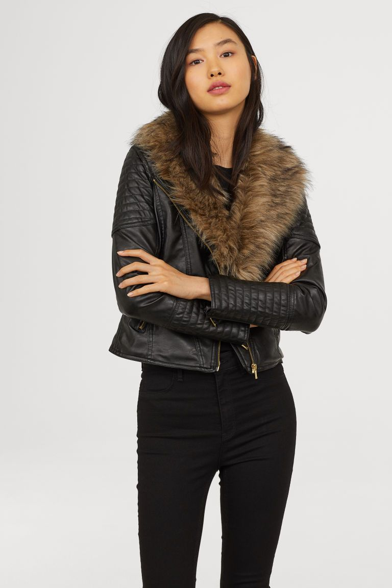 best loved best prices hoard as a rare commodity Faux Fur-collar Biker Jacket | #61 in 2019 | Fur collars ...