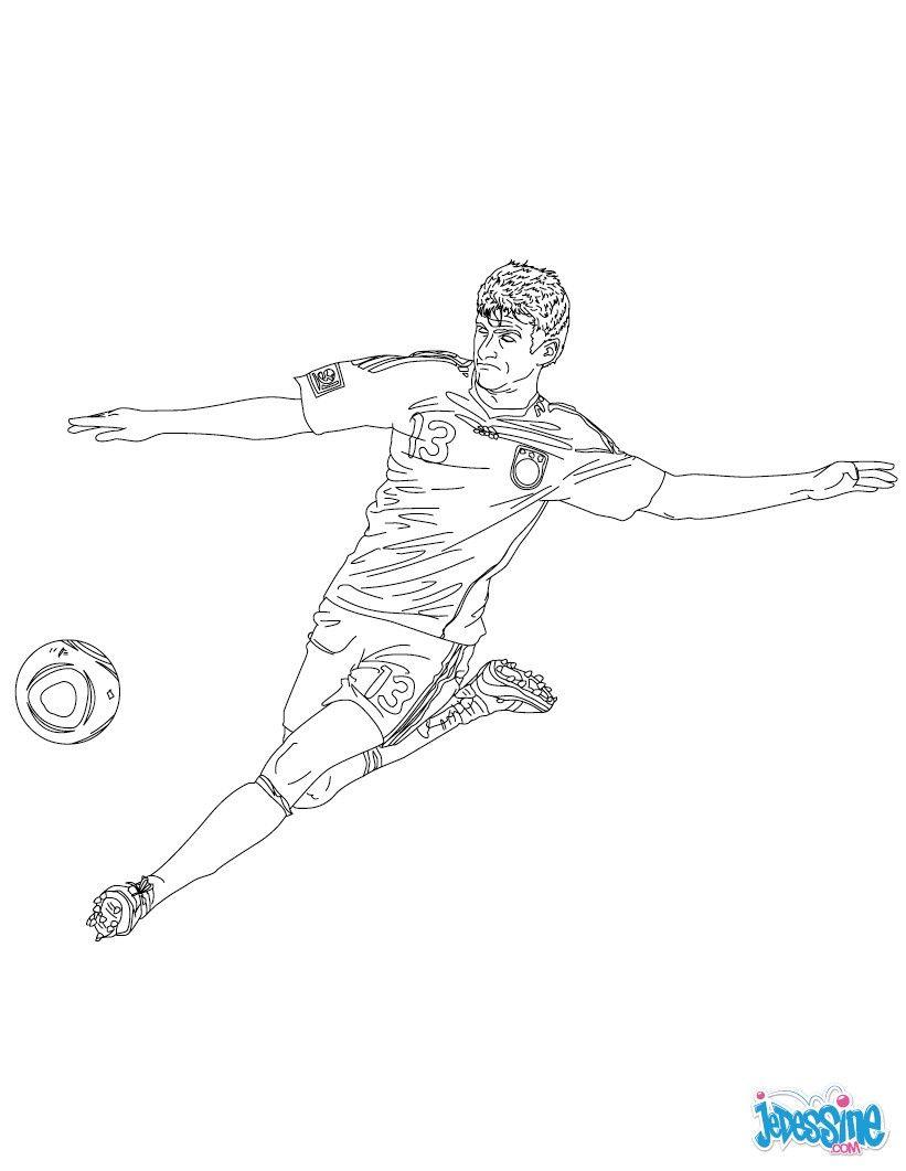 Coloriage du joueur de foot Thomas Muller € imprimer gratuitement ou colorier en ligne sur