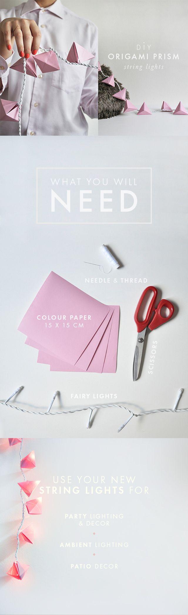 diy origami prism string lights n pady do domu pinterest origami bricolage et guirlande. Black Bedroom Furniture Sets. Home Design Ideas