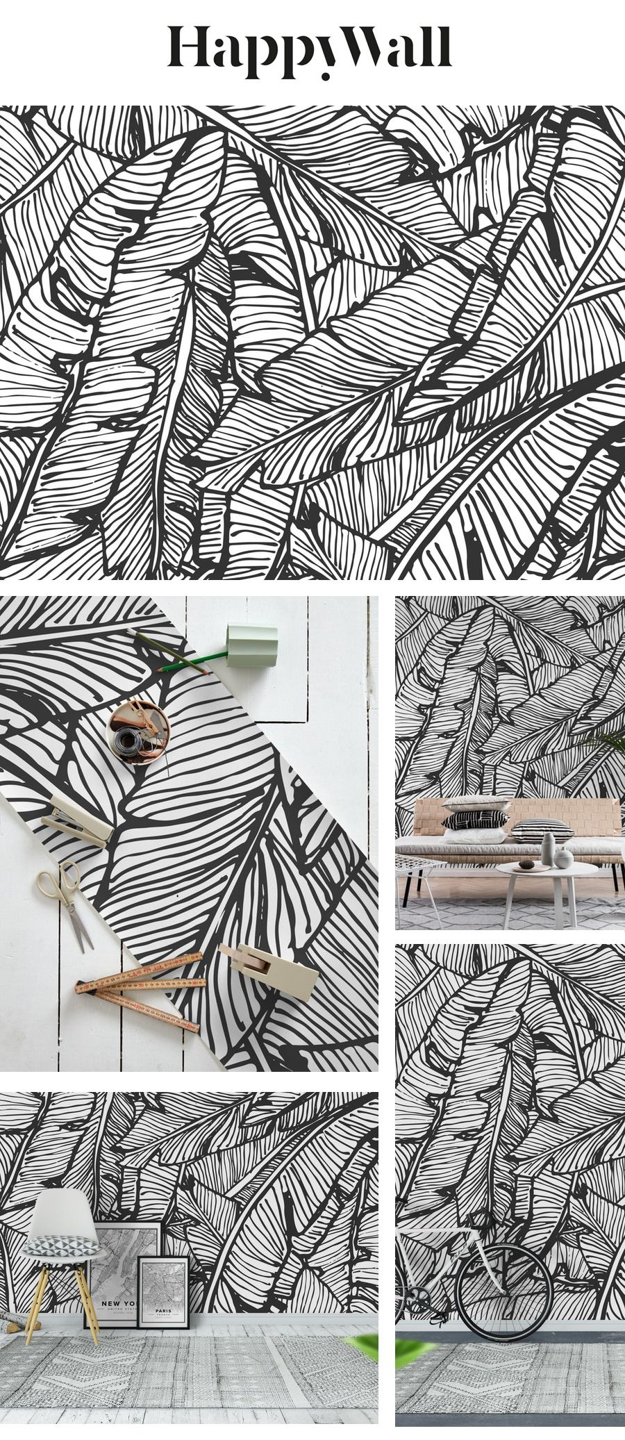 Black And White Jungle Wall mural in 2020 Jungle wall