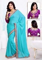 Firozi Color Moss Shimmer Festival & Function Wear Sarees : Navnita Collection  YF-41500