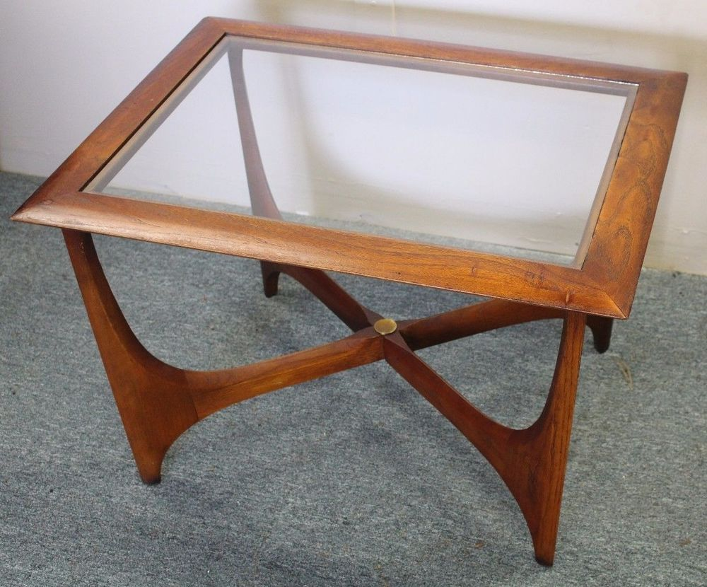 Vintage Mid Century Modern Lane Walnut Glass Top Coffee Table Adrian