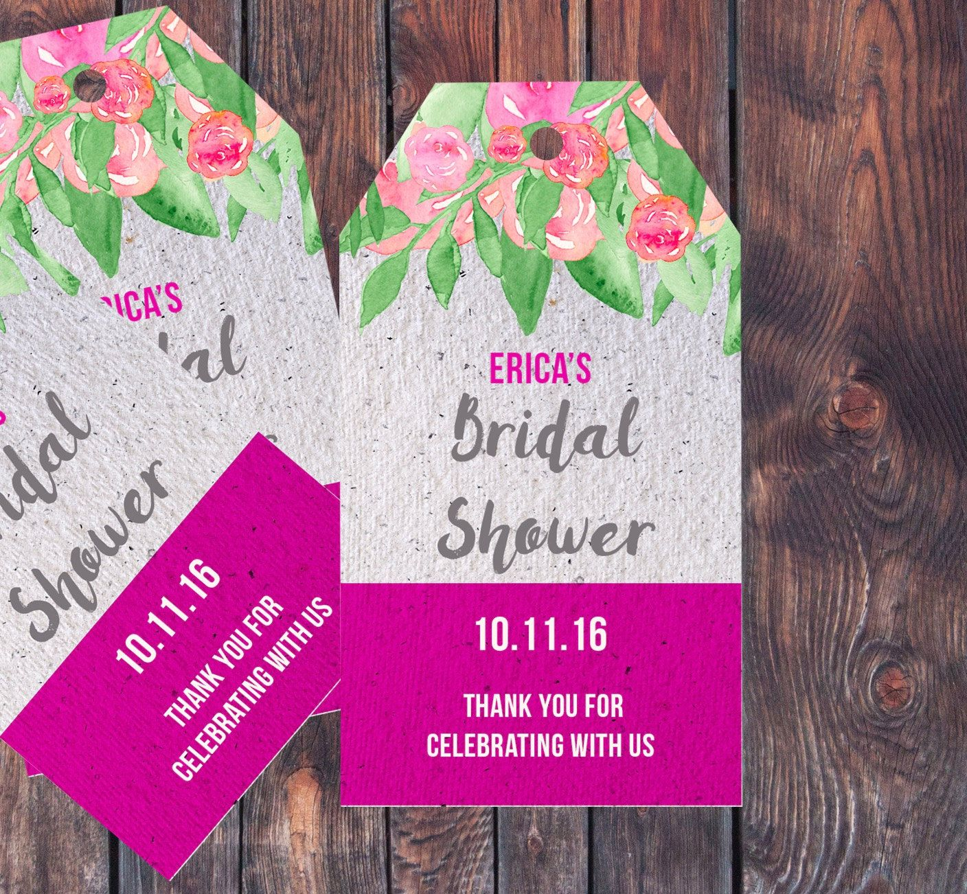 Bridal Shower Tags, Bridal Shower Favor Tags, Thank You tags ...