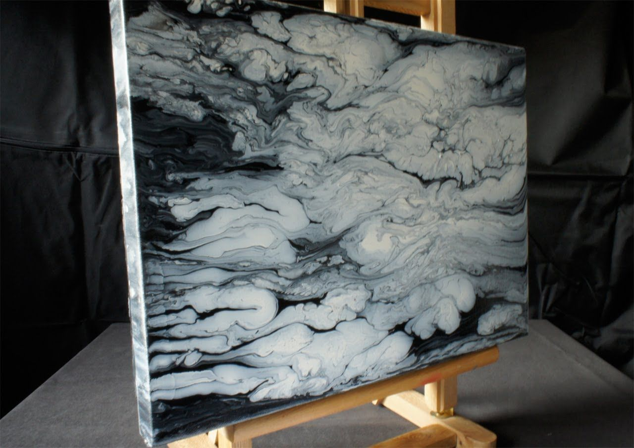 Abstract Painting How To Acrylmalerei Demo Fluid Acrylic Painting Black White Clouds