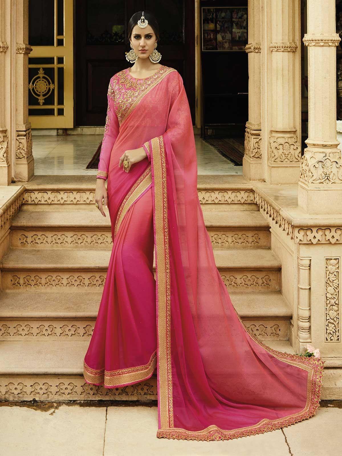 Latest pink designer wedding wear sarees indian designer pink color