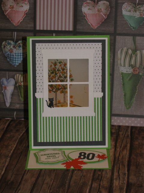 Madison Window die Stampin Up, Sheltering Tree, weiße Weihnacht, Teelichtkarte zum 80sten Geburtstag im Herbst