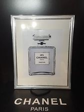 14x11 framed chanel no 5 perfume bling art print in silver picture frame