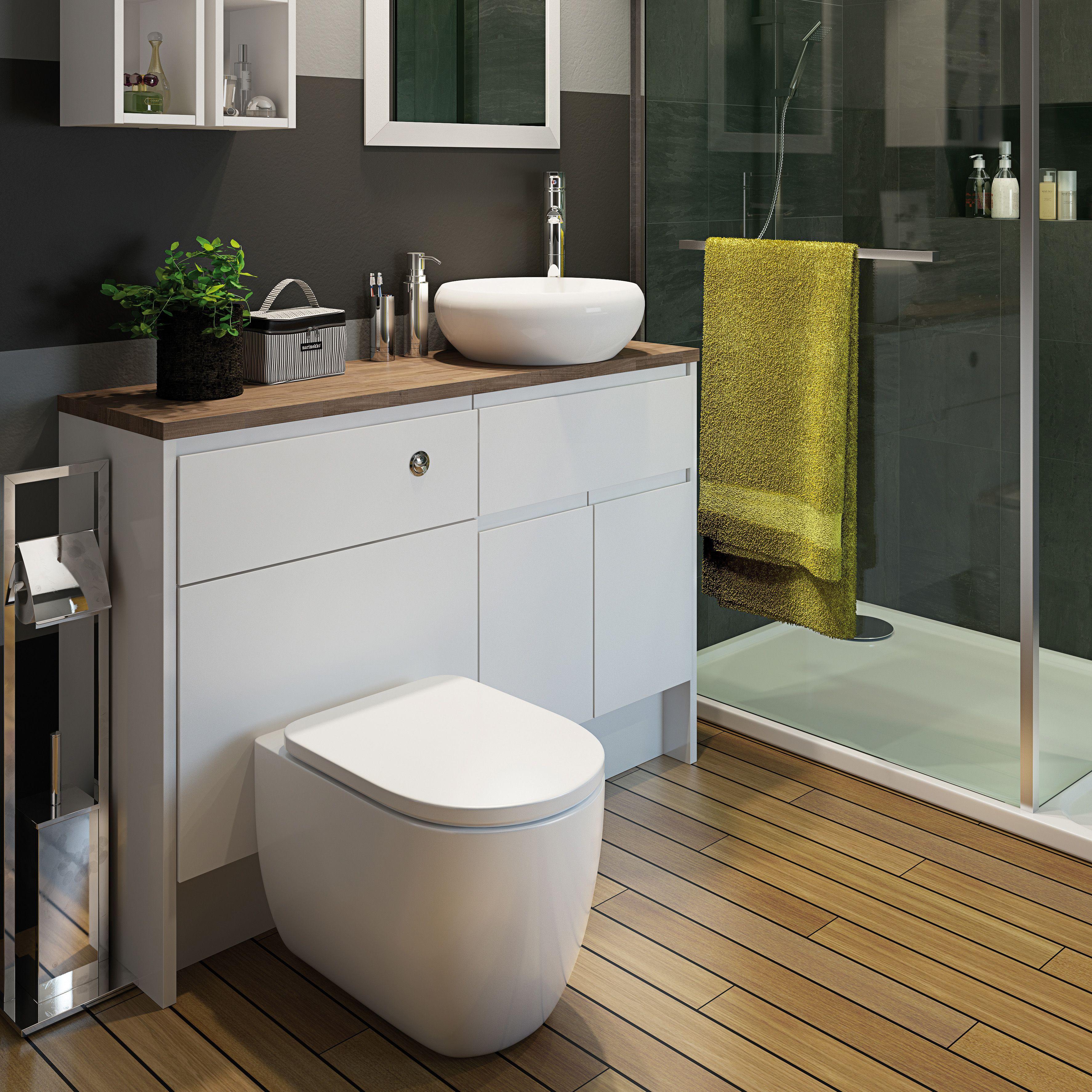 Cooke Lewis Marletti Gloss White Slimline Basin Unit W 600mm H 852mm In 2020 Small Bathroom Small Toilet Basin Unit