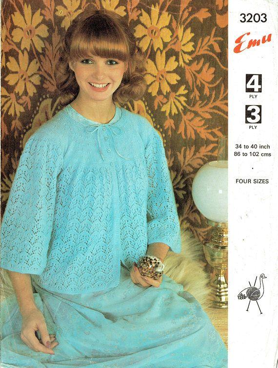Pdf Vintage Womens Ladies Bed Jacket Knitting Pattern Emu 3203