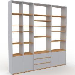 Photo of Wohnwand Lichtgrau – Individuelle Designer-Regalwand: Schubladen in Lichtgrau & Türen in Lichtgrau –