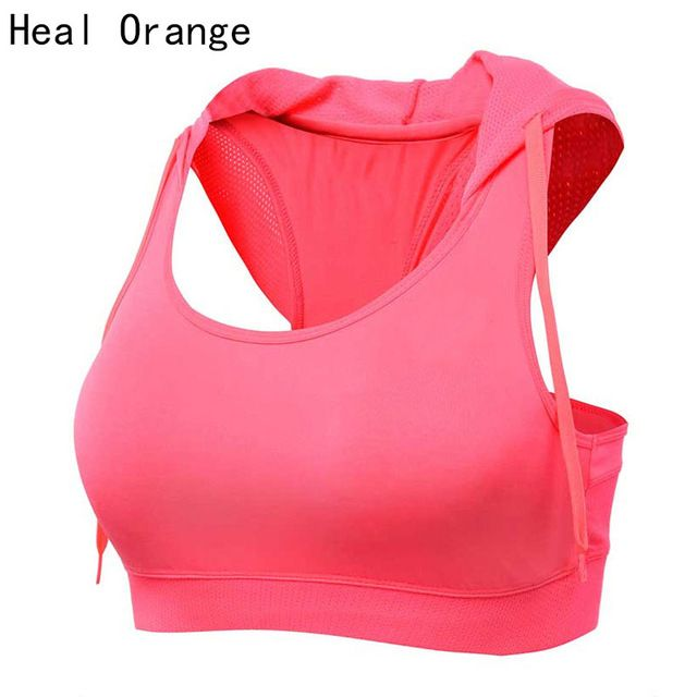 dd221b79b7c09 HEAL ORANGE Woman s Running Vest Hooded Sports Bra Padded Corsets Gym Tank  Tops Bodybuilding Fitness Shirt