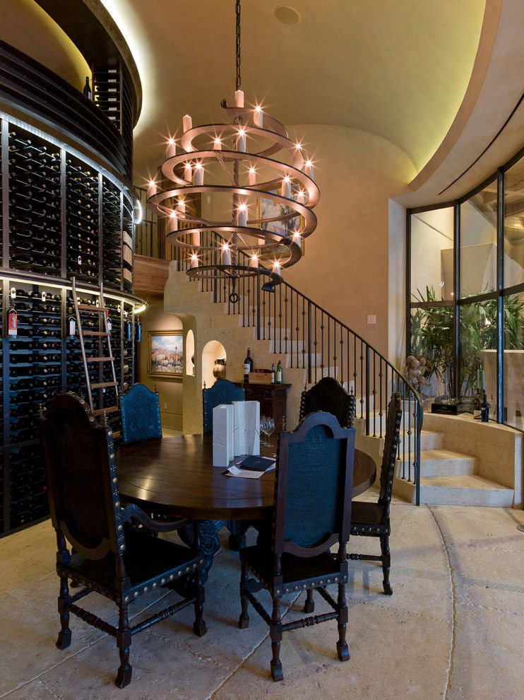 foyer chandeliers Wine Cellar Contemporary with candle chandelier ceiling lighting concrete floor curved & foyer chandeliers Wine Cellar Contemporary with candle chandelier ...