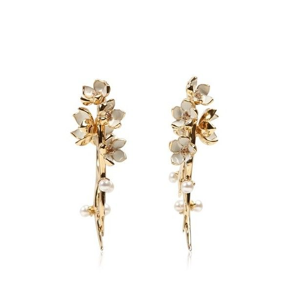 SHAUN LEANE - CHERRY BLOSSOM AND TOPAZ EARRINGS ($1,075) found on Polyvore