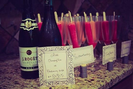 DIY champagne bar - with popsicles! so cute for a bridal shower