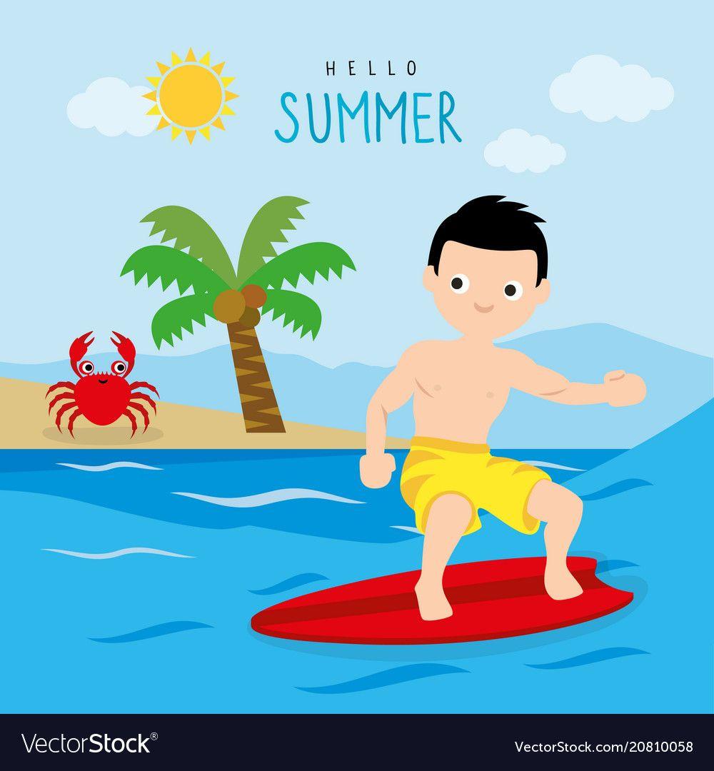Surfboard Summer Holiday Trip Boy Cartoon Vector Image Holiday Travel Boy Cartoon Summer Holiday