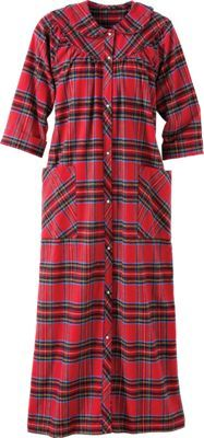 Womens Snap-Front Flannel Robe With Pearly Snaps  52608667c
