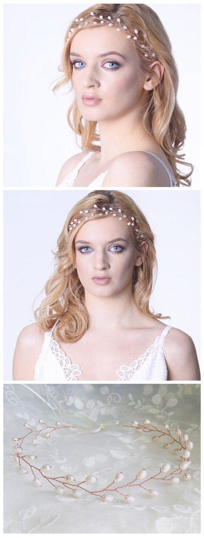Rose gold wreath pearl hair vine blush wedding Pearl headpiece