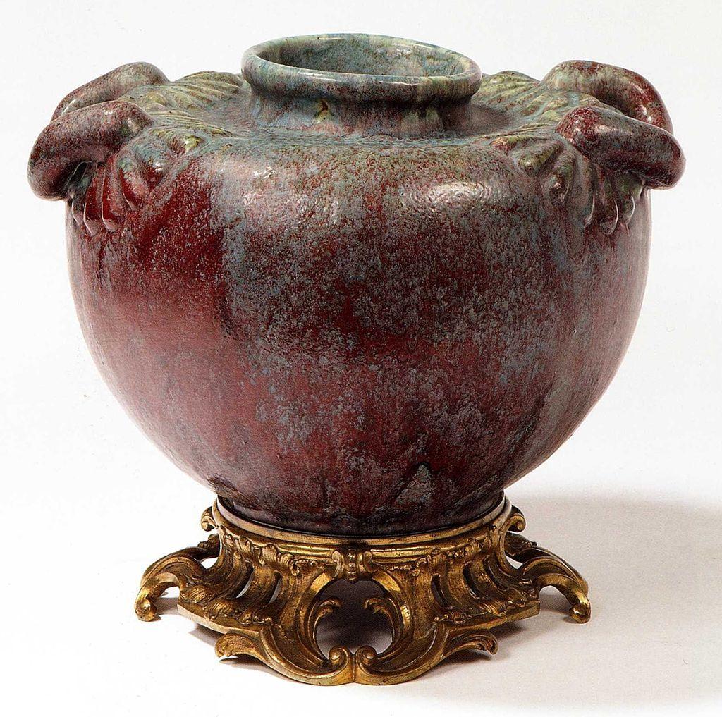 Art Nouveau - Vase sur socle - Grès et Bronze doré - Pierre-Adrien Dalpayrat - vers 1900