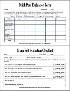 Cooperative Learning: This Free PDF Packet Includes Documents For Self  Evaluation, Peer Evaluation, Progress Assessment, Group Checklist, Two  Rubrics, And.
