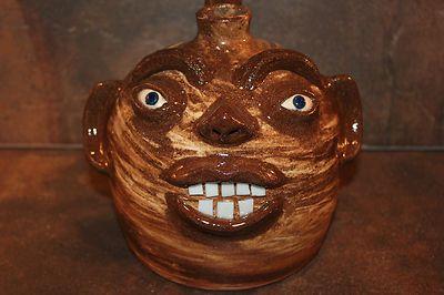 2011 Dale Costner Pottery Face Jug w Finger Handle. Swirl! Happy Face. Squat Jug