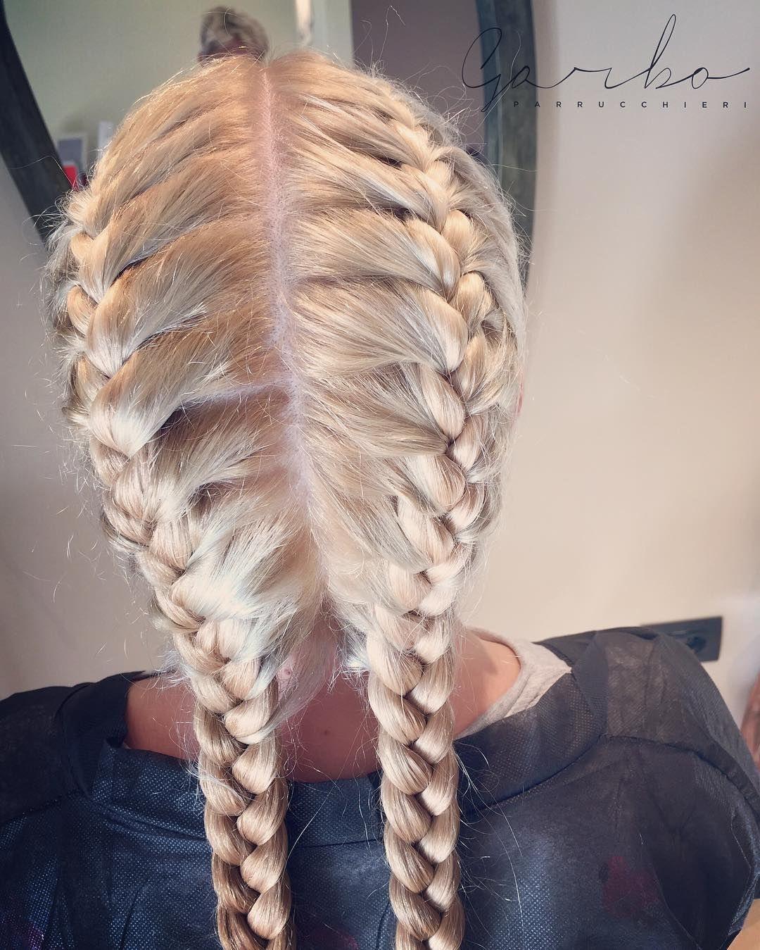 Doppia Treccia  Double Braid --- #garboparrucchieri #colorbar #colore #lucentezza #capelli #effettocolore #sfumatureneicapelli #nuovocolore #nuovo #moda #tendenza #colorazione #instahair #gropellocairoli #garlasco #vigevano #pavia #milano